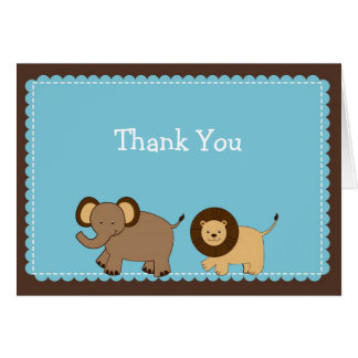 Cocoa Jungle Animal Thank You Note Cards