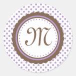 Cocoa & Purple Polka Dots Monogram Initial Sticker