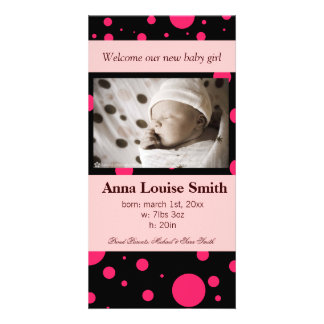 COCOA & RASPBERRY BABY ANNOUNCEMENTS CUSTOMISED PHOTO CARD