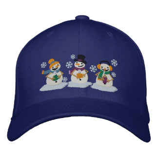 Cocoa Snowmen Embroidered Baseball Caps