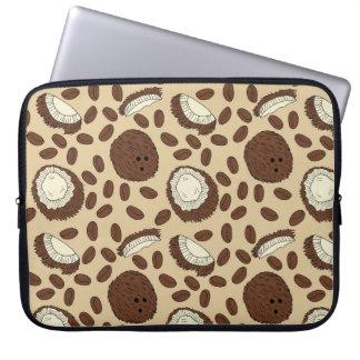 Coconut Coffee Bean Pattern Brown Tan Cream Laptop Sleeve