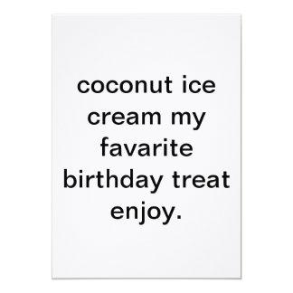 coconut ice cream my favarite birthday treat 13 cm x 18 cm invitation card