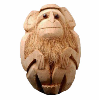 Coconut Monkey Ornament Photo Sculpture Decoration