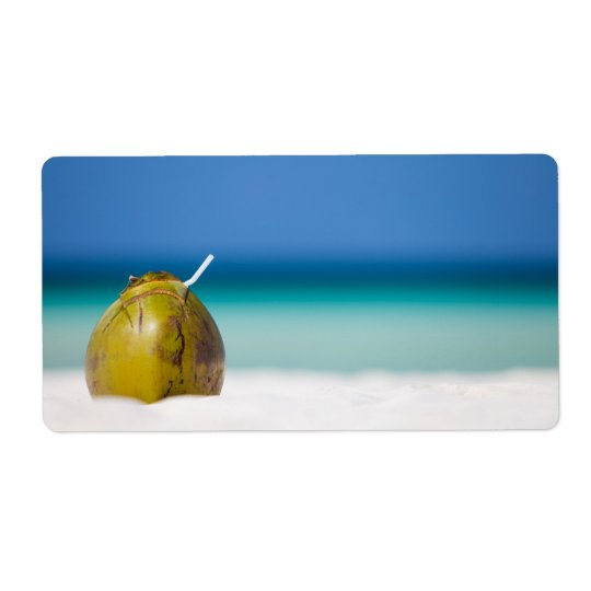 Coconut on the beach shipping label