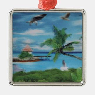 Coconut palm tree beach.jpg Silver-Colored square decoration
