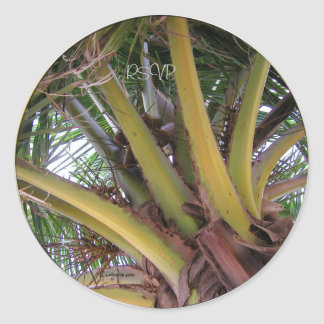 Coconut Palm Tree RSVP Wedding Seals Sticker