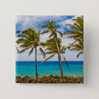 Coconut palm trees (Cocos nucifera) swaying in 15 Cm Square Badge