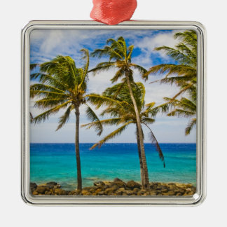 Coconut palm trees (Cocos nucifera) swaying in Christmas Ornament