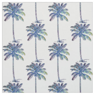 Coconut Palm Trees Pattern Colored Pencil Drawing Fabric