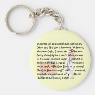 """Code Blue is Coming!""--Nurse Story Art Gifts Basic Round Button Key Ring"