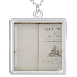 Code Civil, open at the titlepage, 1804 Silver Plated Necklace