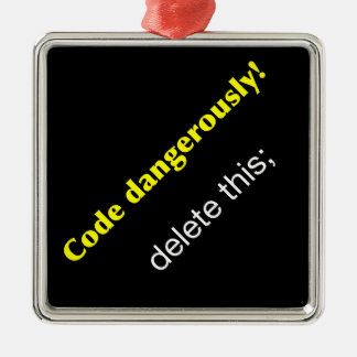 Code Dangerously! Silver-Colored Square Decoration