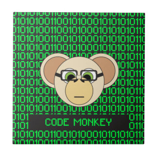 Code Monkey Cartoon Animal Programmer Coder Jungle Small Square Tile