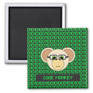 Code Monkey Cartoon Animal Programmer Coder Jungle Square Magnet