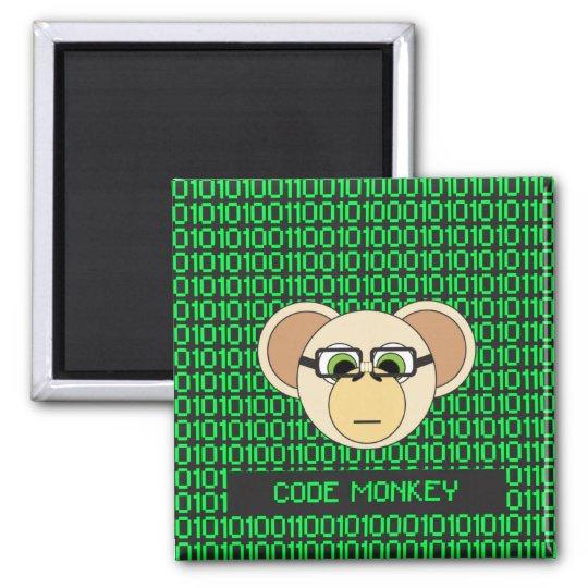 Code Monkey Cartoon Animal Programmer Coder Jungle Square Magnet