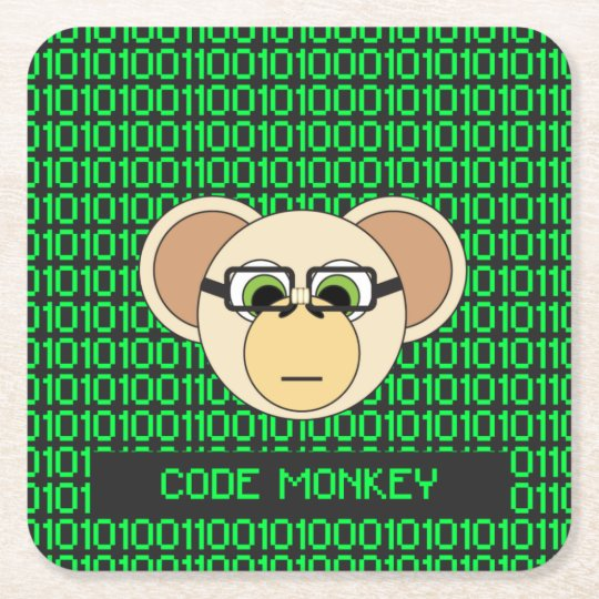 Code Monkey Cartoon Animal Programmer Coder Jungle Square Paper Coaster