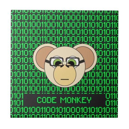 Code Monkey Cartoon Animal Programmer Coder Jungle Tile