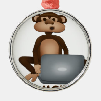 Code Monkey Silver-Colored Round Decoration