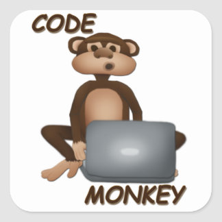 Code Monkey Square Sticker