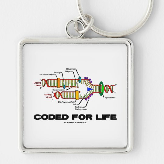 Coded For Life (DNA Replication) Silver-Colored Square Key Ring