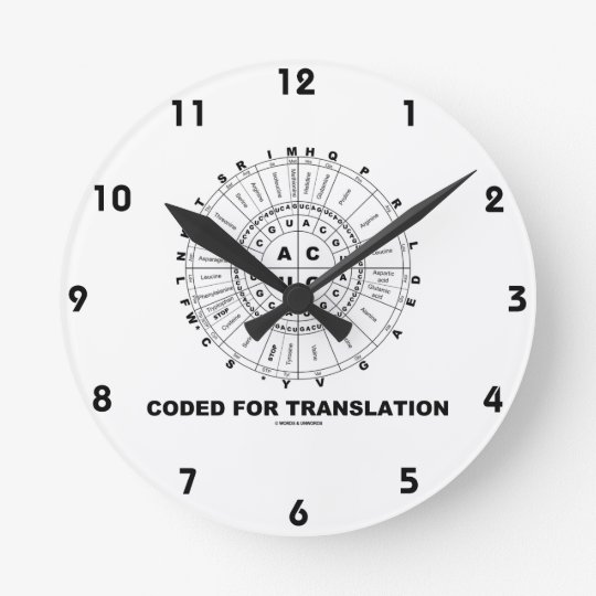 Coded For Translation (RNA Codon Wheel) Wall Clocks