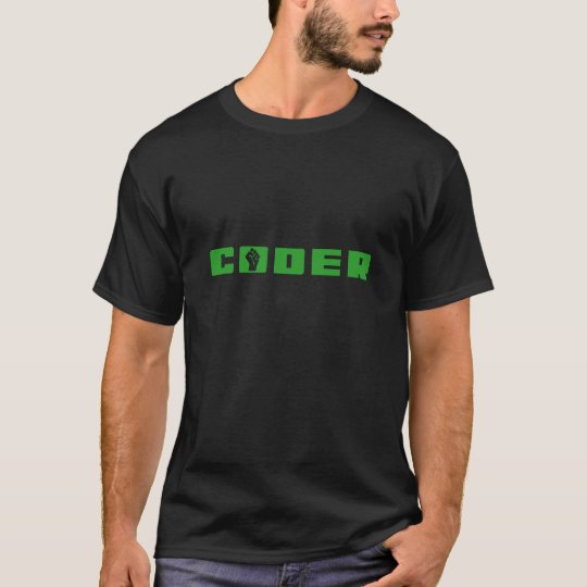 Coder Green on Black T-Shirt