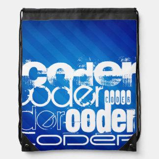 Coder; Royal Blue Stripes Backpacks