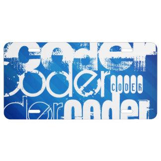 Coder; Royal Blue Stripes License Plate