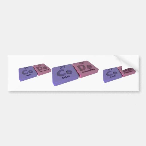 Cods as Co Cobalt and Ds Darmstadtium Bumper Stickers