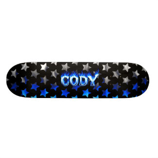 Cody skateboard blue fire and flames design