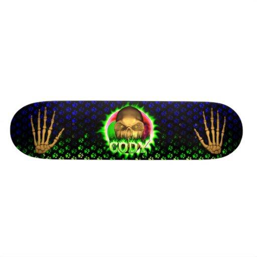 Cody skull green fire Skatersollie skateboard