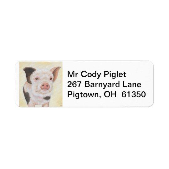 Cody the Piglet return address label