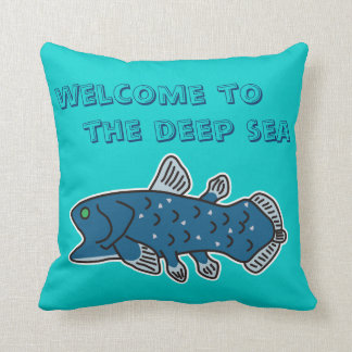 """Coelacanth Pillow """"WELCOME TO THE DEEP SEA"""""""