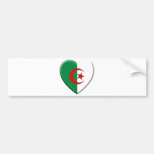 Cœur algérien avec drapeau Algérie Bumper Sticker  Zazzle