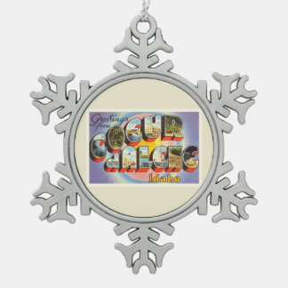 Coeur d'Alene Idaho ID Old Vintage Travel Souvenir Snowflake Pewter Christmas Ornament
