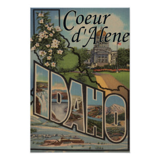 Coeur d'Alene, Idaho - Large Letter Scenes Poster