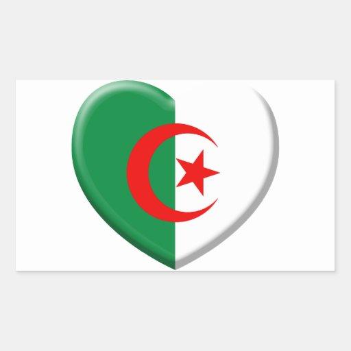 Coeur drapeau Algérie love Sticker En Rectangle  Zazzle