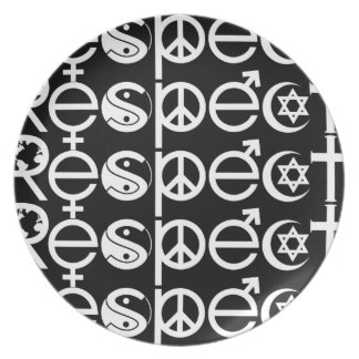 Coexist with Respect - Peace Kindness & Tolerance Dinner Plates