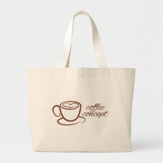 Coffe Cup Heart Love Concept Large Tote Bag