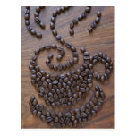 Coffe cup illustrated using coffee beans post cards