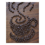 Coffe cup illustrated using coffee beans poster