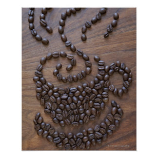Coffe cup illustrated using coffee beans posters
