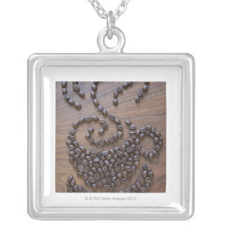 Coffe cup illustrated using coffee beans silver plated necklace