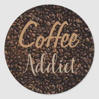 Coffee addict classic round sticker