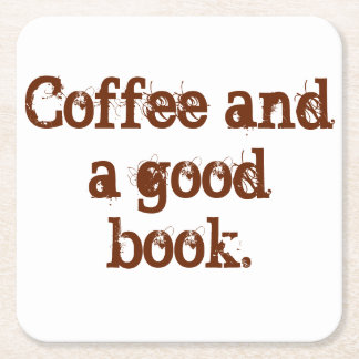 'Coffee and a good book' coaster. Square Paper Coaster