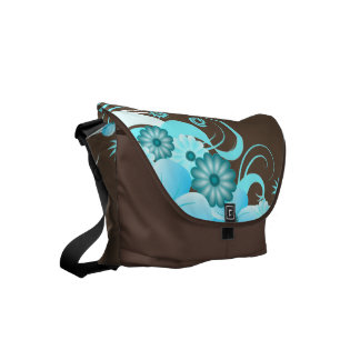 Coffee and Aqua Blue Hibiscus Floral Courier Bags