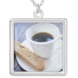 Coffee and Biscotti Square Pendant Necklace