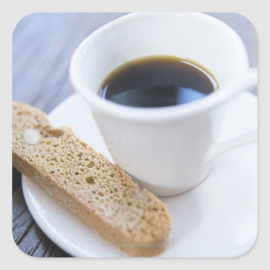 Coffee and Biscotti Square Sticker