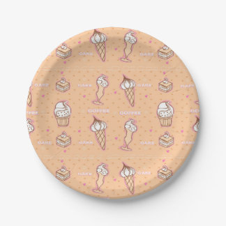 coffee and cakes pattern Paper Plate
