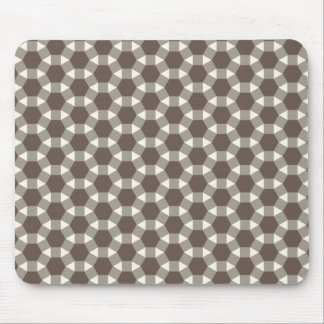 Coffee and Cream Geometric Tessellation Pattern Mouse Pad